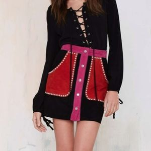 Nasty Gal Skirts - Nasty Gal Electric Ladyland Colorblock Suede Skirt